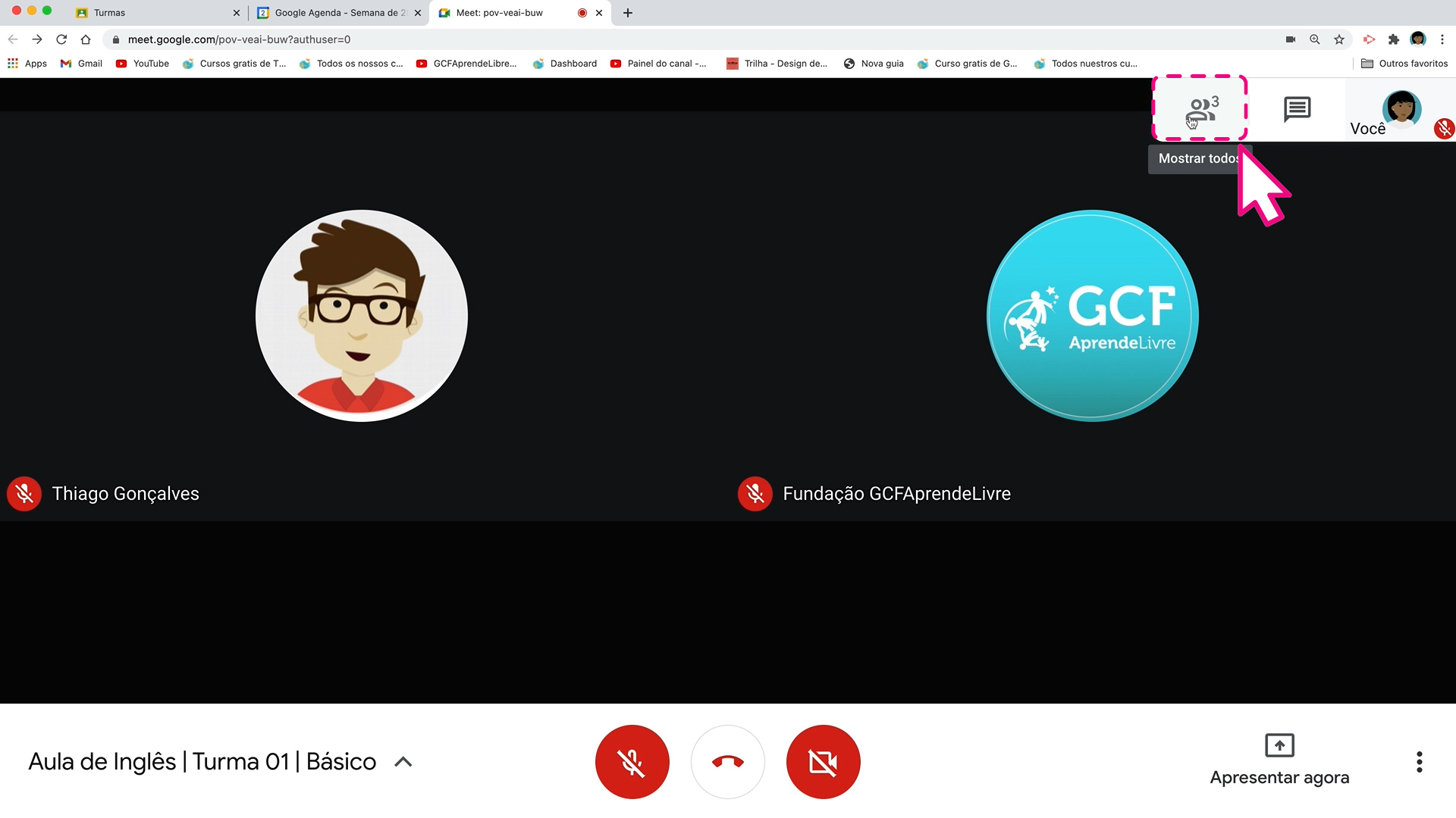 Como visualizar participantes de uma aula online do google meet